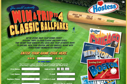 Hostess Baseball Sweepstakes